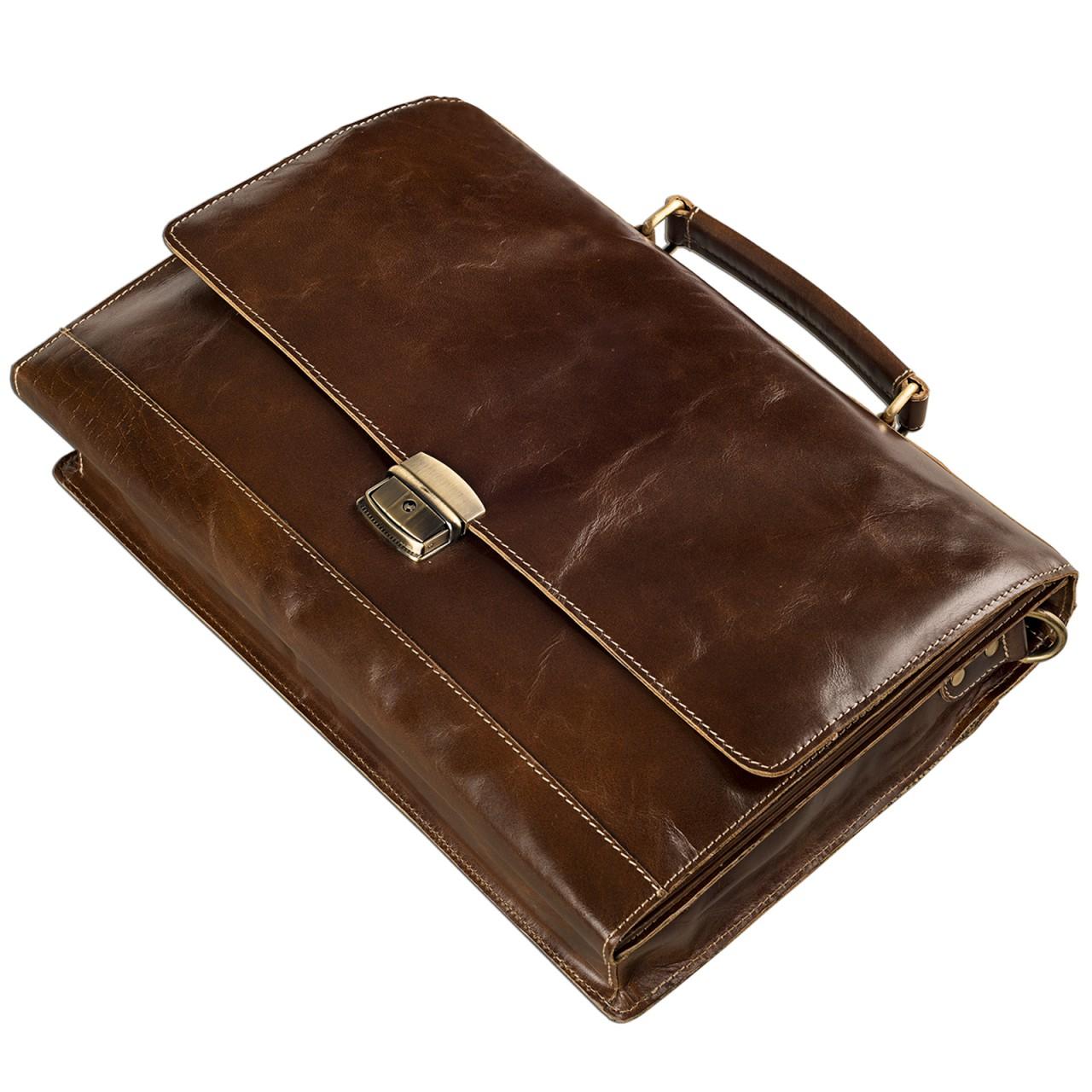 STILORD Vintage Aktentasche elegante Businesstasche zum Umhängen Echtleder für 13,3 Zoll Laptops Rinds Leder dunkles Braun - Bild 3