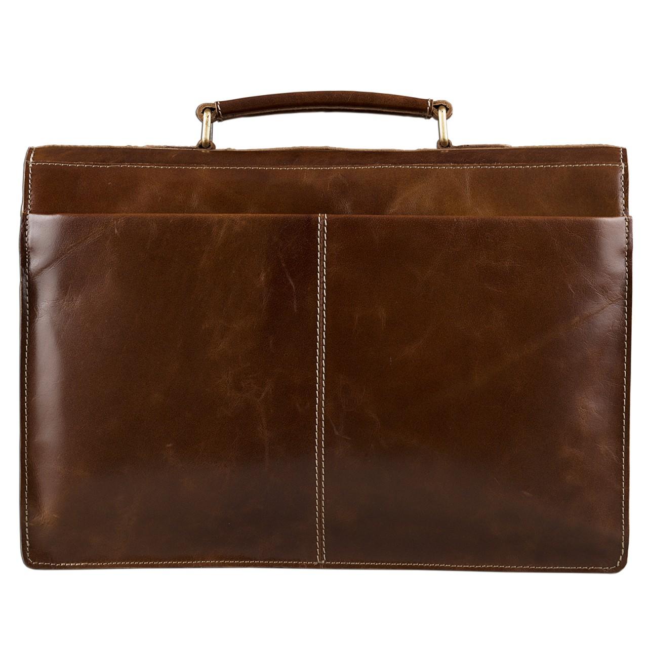 STILORD Vintage Aktentasche elegante Businesstasche zum Umhängen Echtleder für 13,3 Zoll Laptops Rinds Leder dunkles Braun - Bild 4