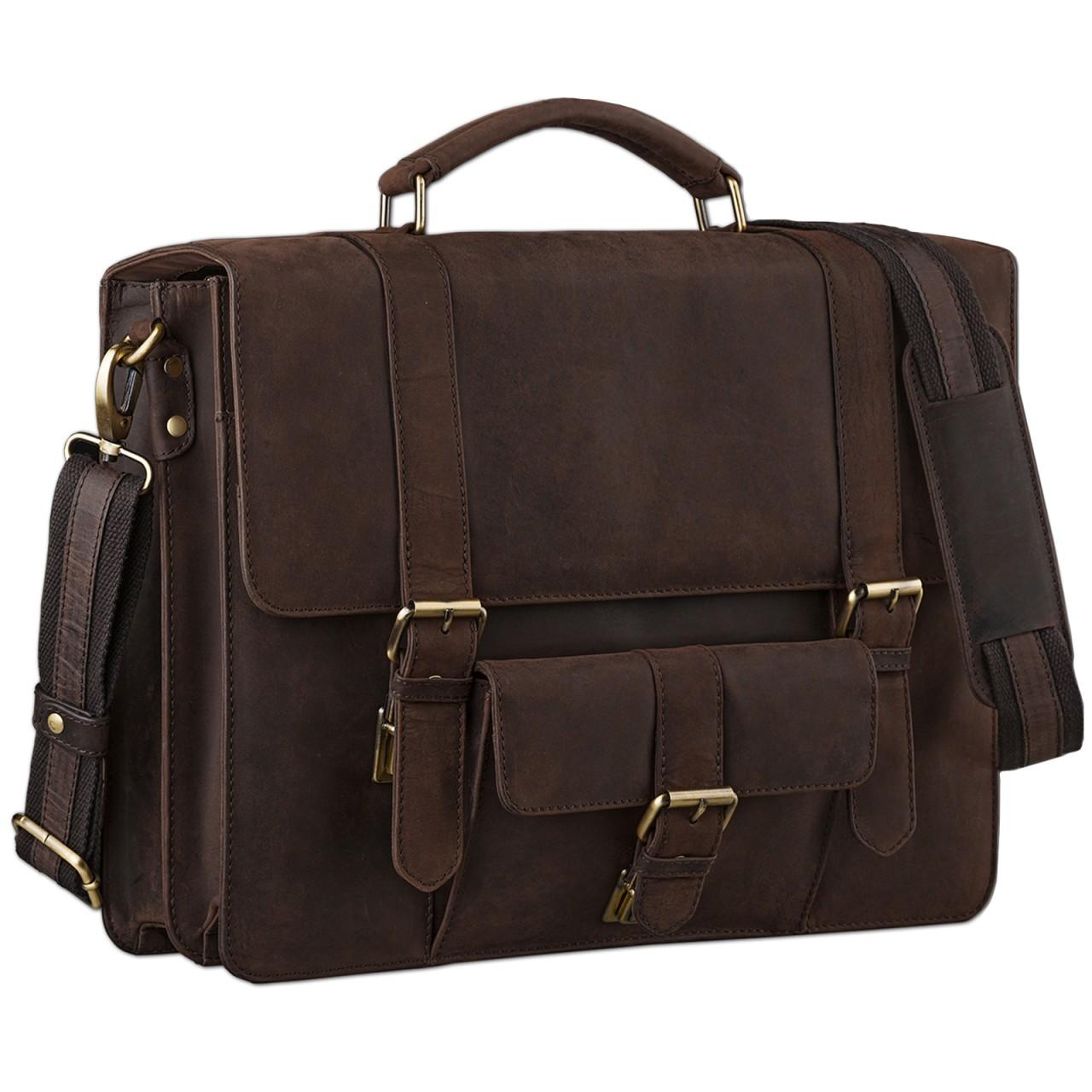 STILORD Klassische Aktentasche Lehrertasche Business Umhängetasche Leder Bürotasche Laptoptasche groß aus Rinds-Leder braun - Bild 1