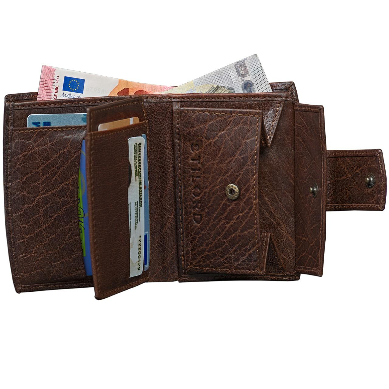 STILORD Vintage Leder Portemonnaie Damen Geldbörse Portmonee Brieftasche Geldbeutel EC-Fächer echtes Büffel-Leder dunkelbraun - Bild 6