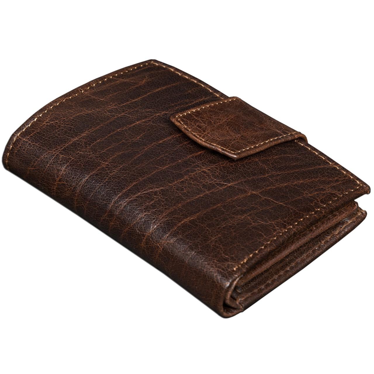 STILORD Vintage Leder Portemonnaie Damen Geldbörse Portmonee Brieftasche Geldbeutel EC-Fächer echtes Büffel-Leder dunkelbraun - Bild 1