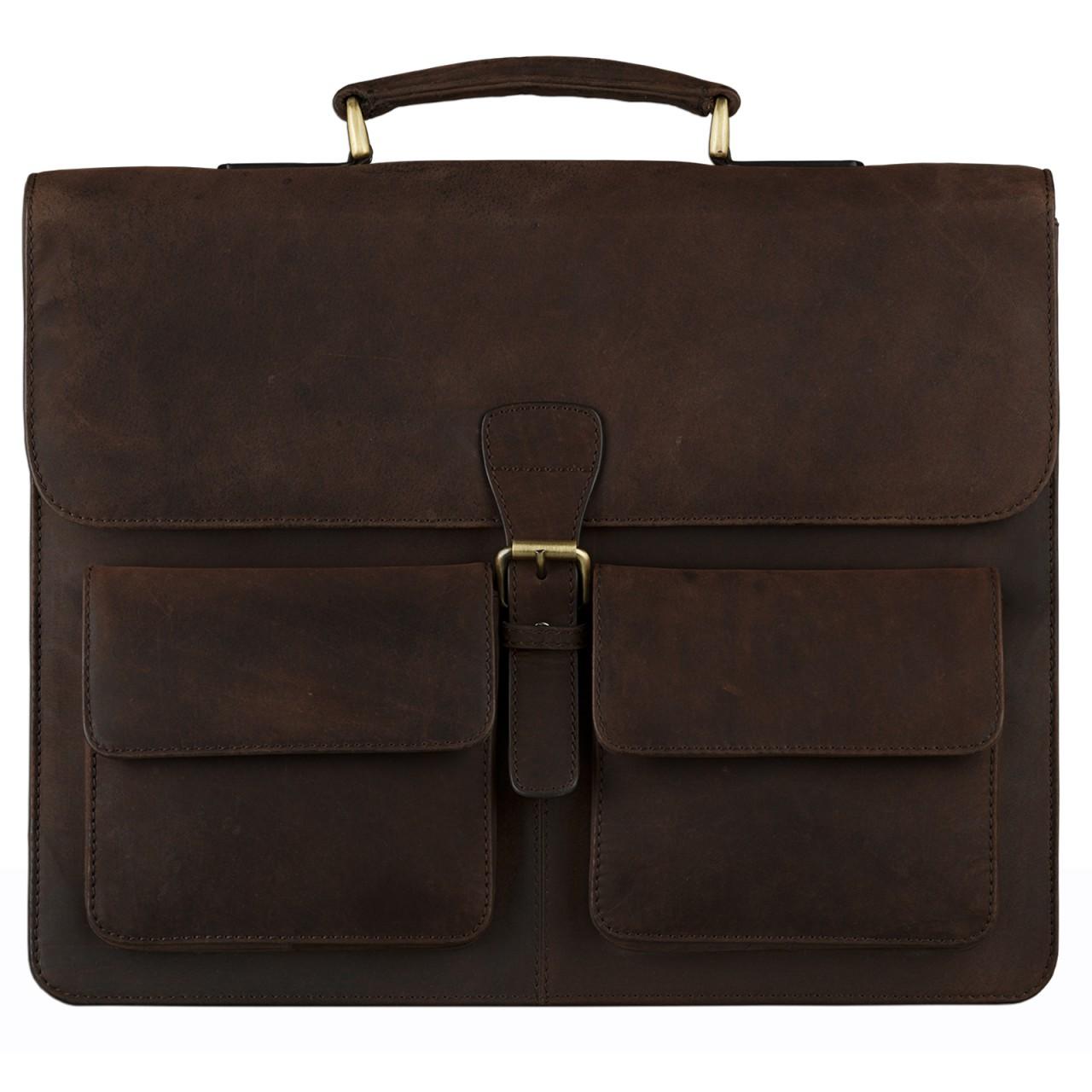 STILORD Klassische Ledertasche Aktentasche Lehrertasche Umhängetasche für Laptops bis 15.6 Zoll echtes Rinds Leder, Vintage Design dunkelbraun - Bild 3