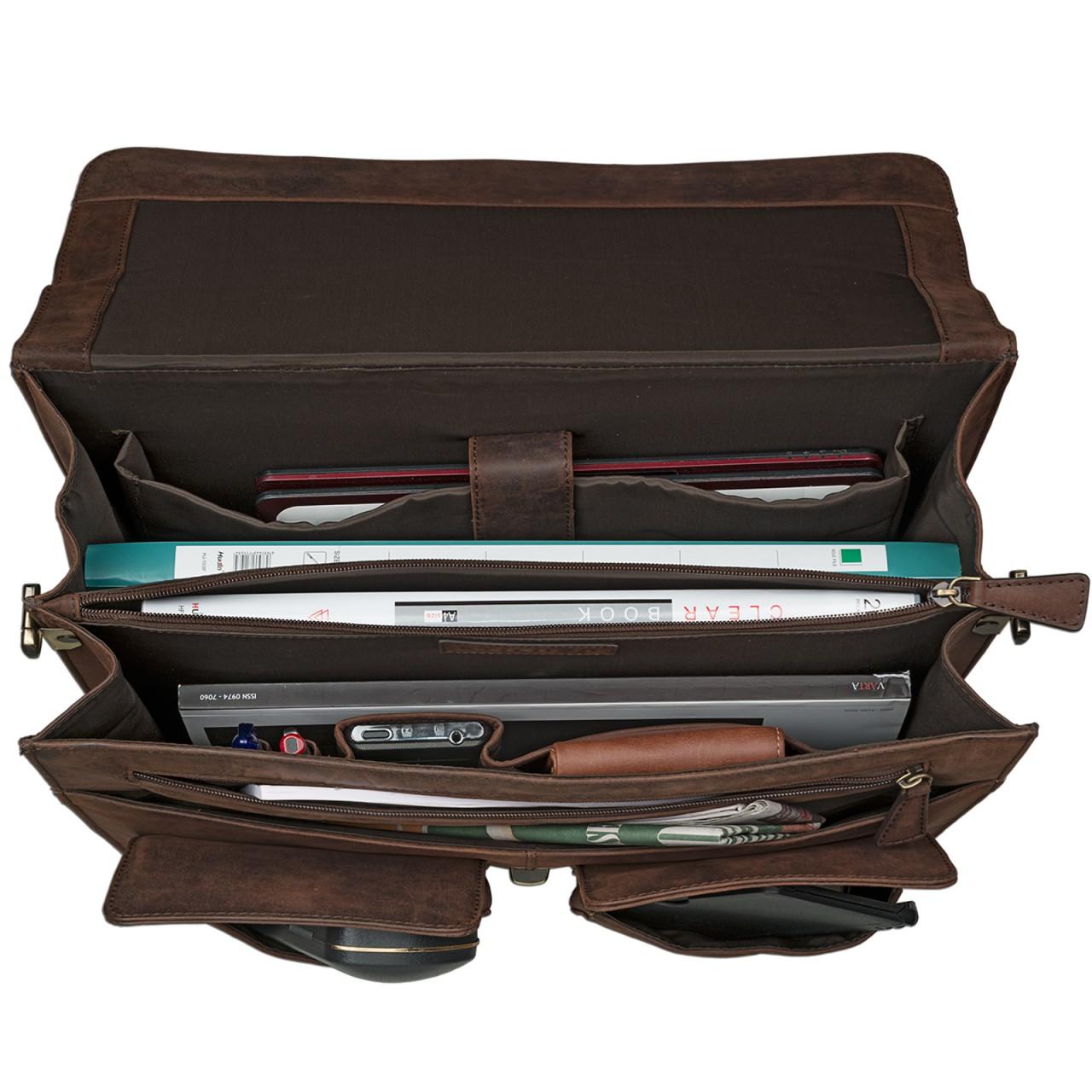STILORD Klassische Ledertasche Aktentasche Lehrertasche Umhängetasche für Laptops bis 15.6 Zoll echtes Rinds Leder, Vintage Design dunkelbraun - Bild 6