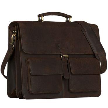 STILORD Klassische Ledertasche Aktentasche Lehrertasche Umhängetasche für Laptops bis 15.6 Zoll echtes Rinds Leder, Vintage Design dunkelbraun