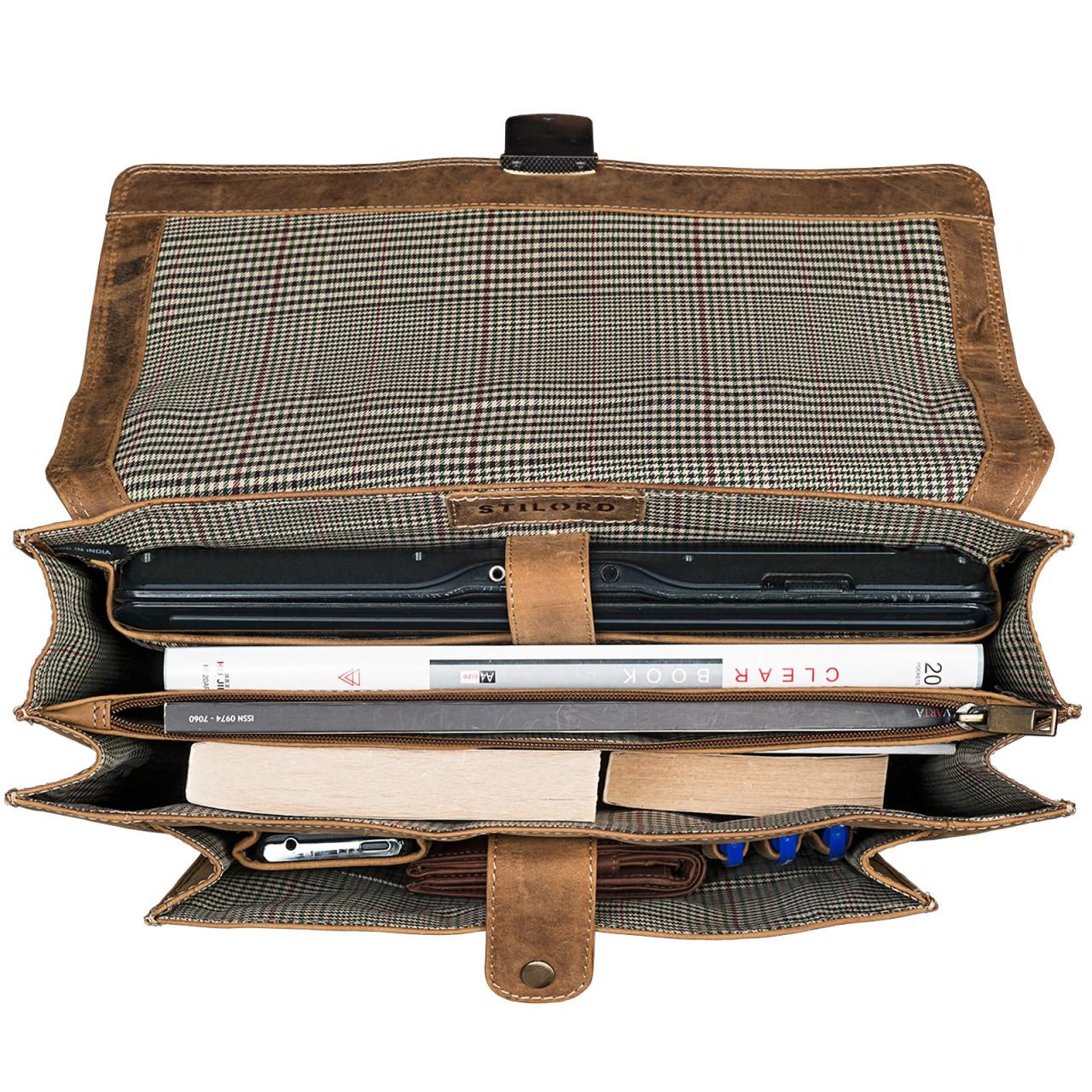 STILORD Bürotasche klassisch elegante Business Umhängetasche Laptoptasche zeitloses Vintage Design und echtes Leder, braun - Bild 6