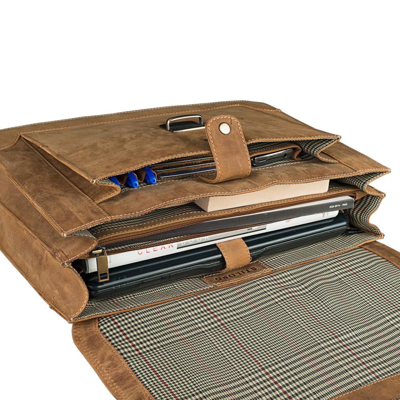 STILORD Bürotasche klassisch elegante Business Umhängetasche Laptoptasche zeitloses Vintage Design und echtes Leder, braun - Bild 8
