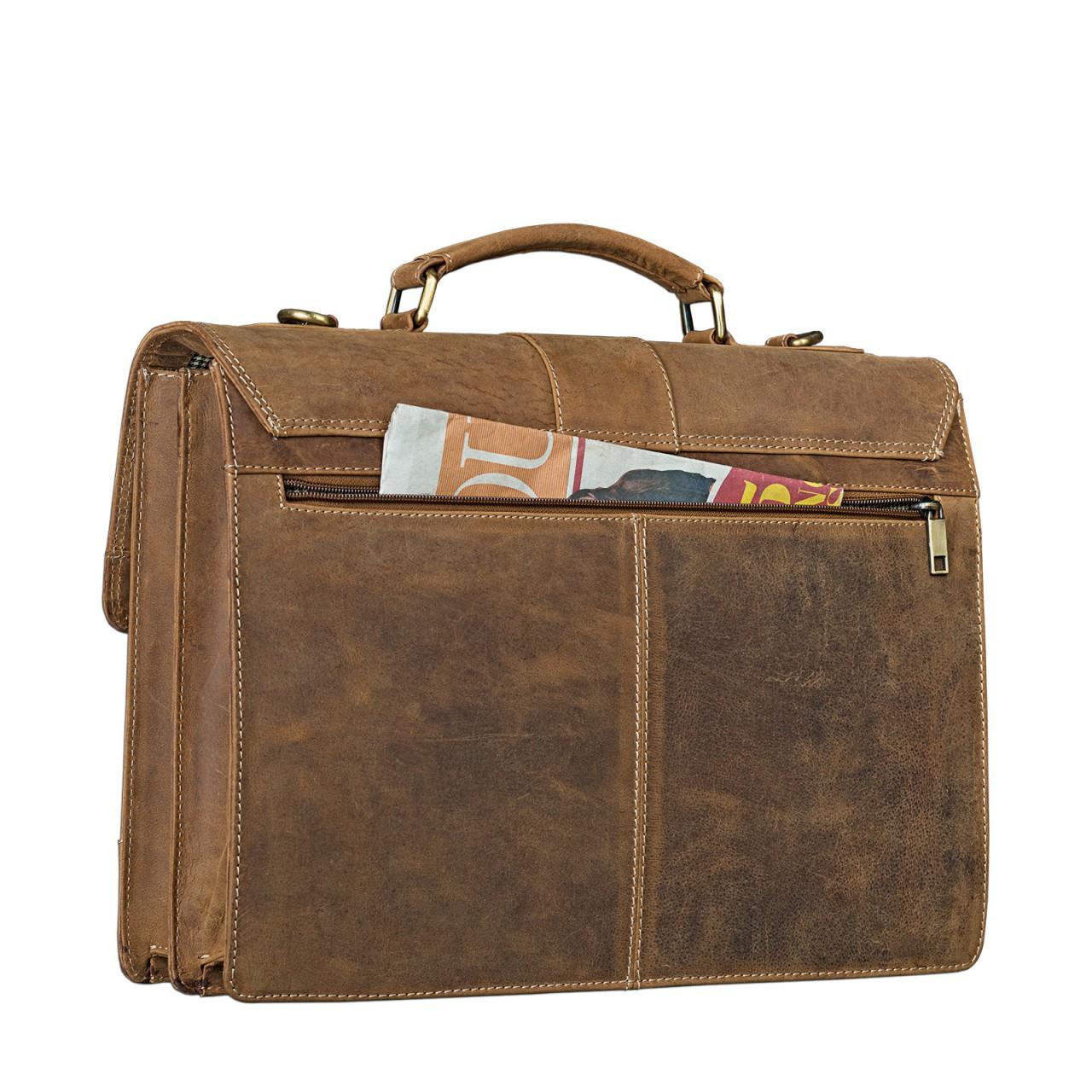 STILORD Bürotasche klassisch elegante Business Umhängetasche Laptoptasche zeitloses Vintage Design und echtes Leder, braun - Bild 4