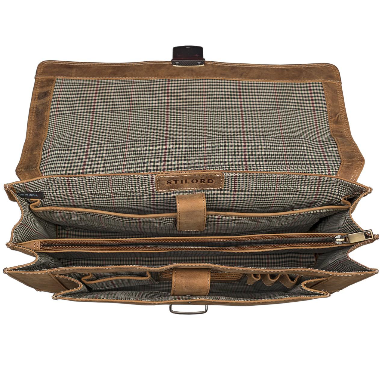 STILORD Bürotasche klassisch elegante Business Umhängetasche Laptoptasche zeitloses Vintage Design und echtes Leder, braun - Bild 5