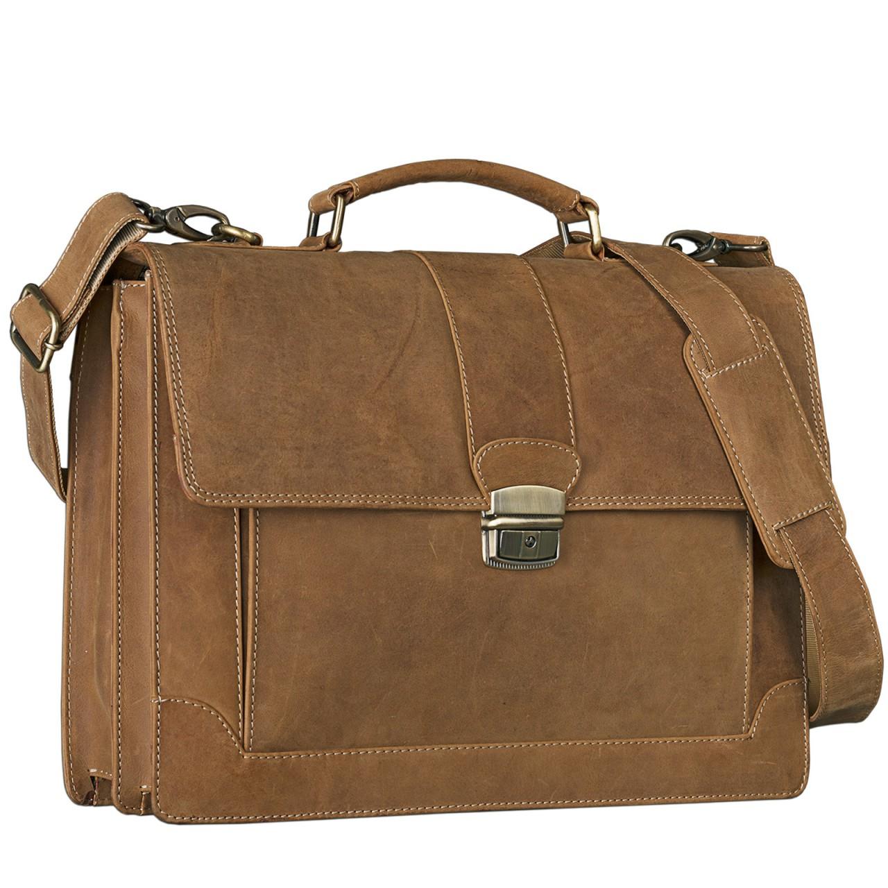 STILORD Bürotasche klassisch elegante Business Umhängetasche Laptoptasche zeitloses Vintage Design und echtes Leder, braun - Bild 1