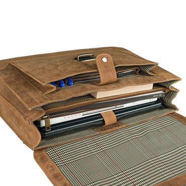 STILORD Bürotasche klassisch elegante Business Umhängetasche Laptoptasche zeitloses Vintage Design und echtes Leder, braun – Bild 8
