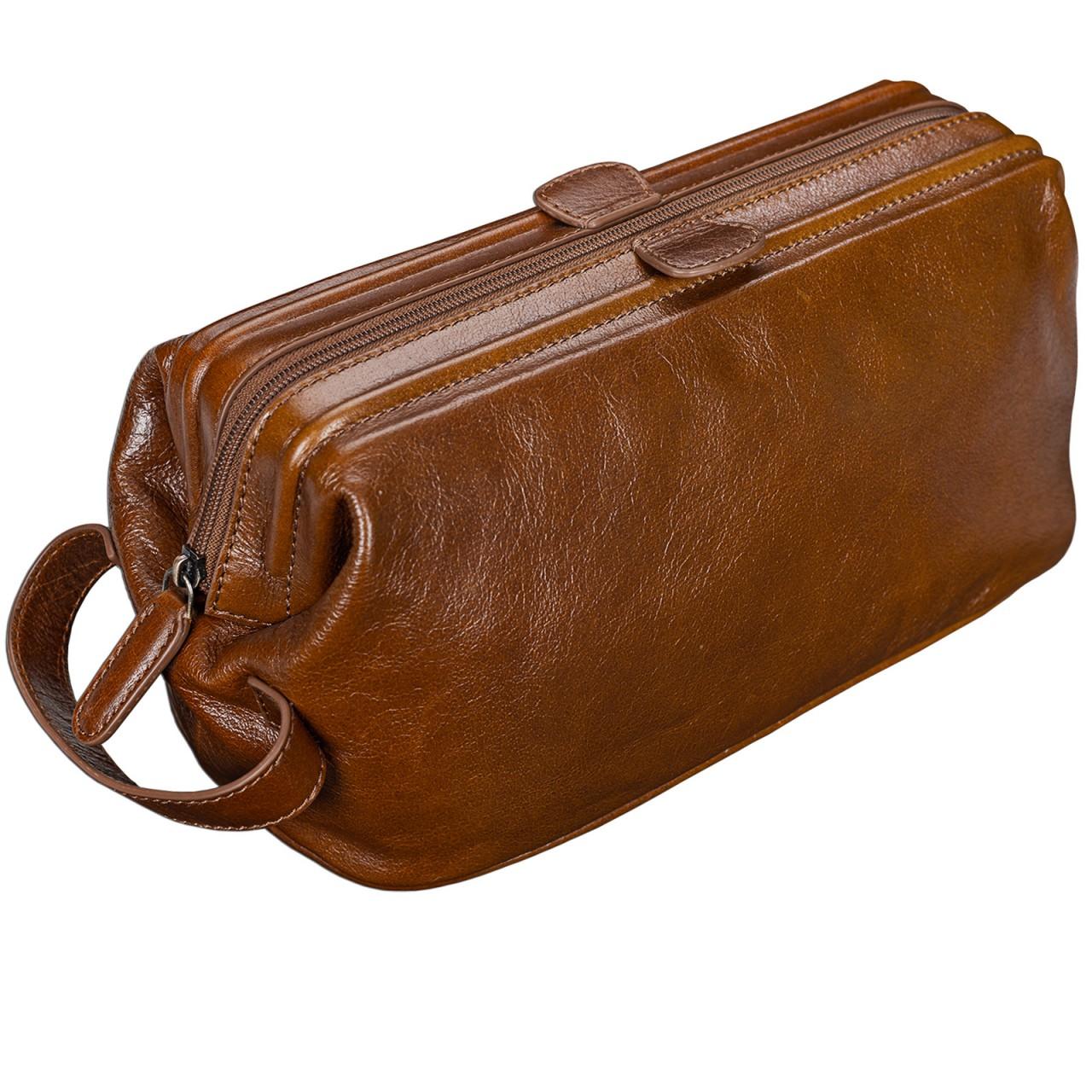 STILORD edler Kulturbeutel groß Kulturtasche mit Henkel Waschtasche für Reisen mit Fächern Vintage Echtleder cognac braun - Bild 1