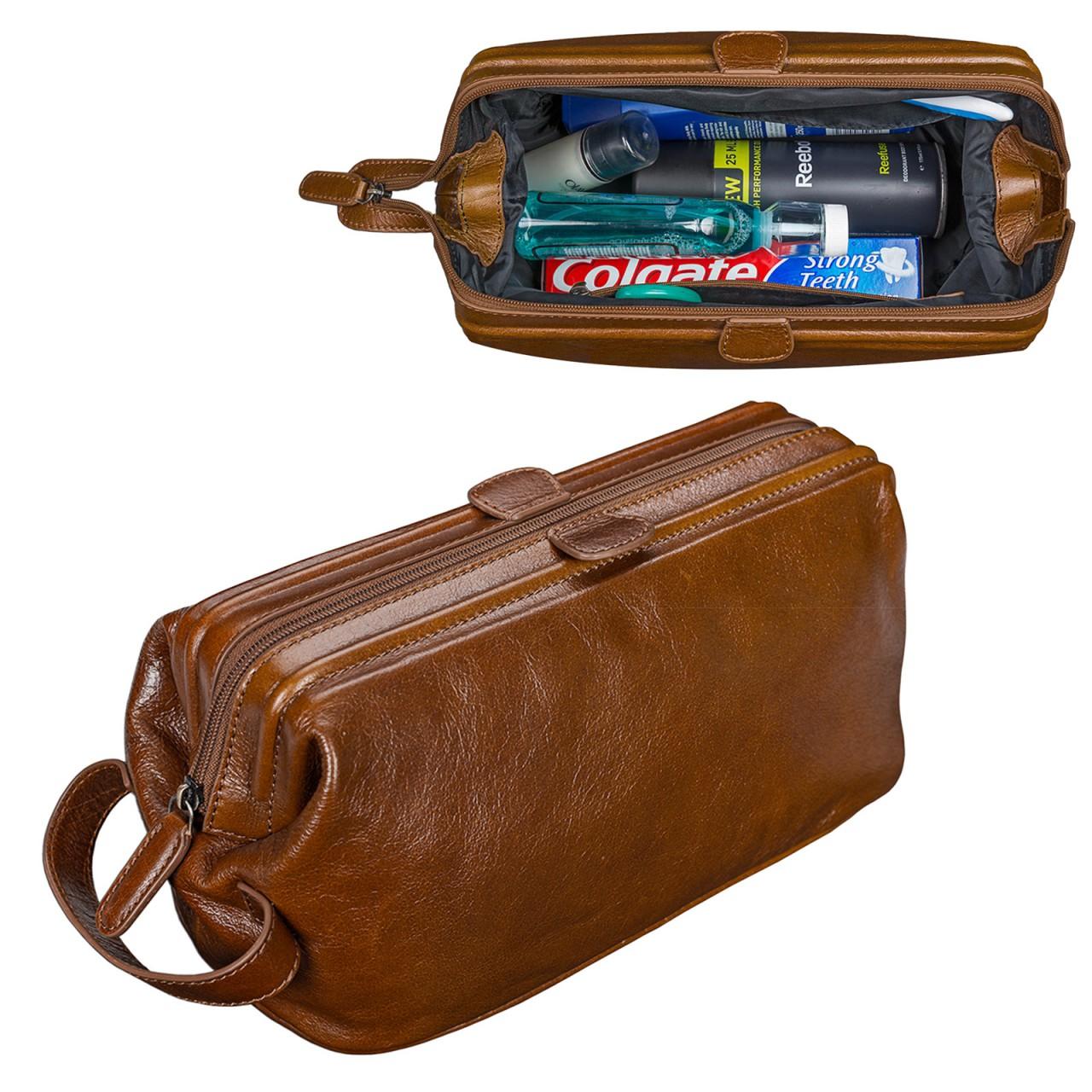 STILORD edler Kulturbeutel groß Kulturtasche mit Henkel Waschtasche für Reisen mit Fächern Vintage Echtleder cognac braun - Bild 2