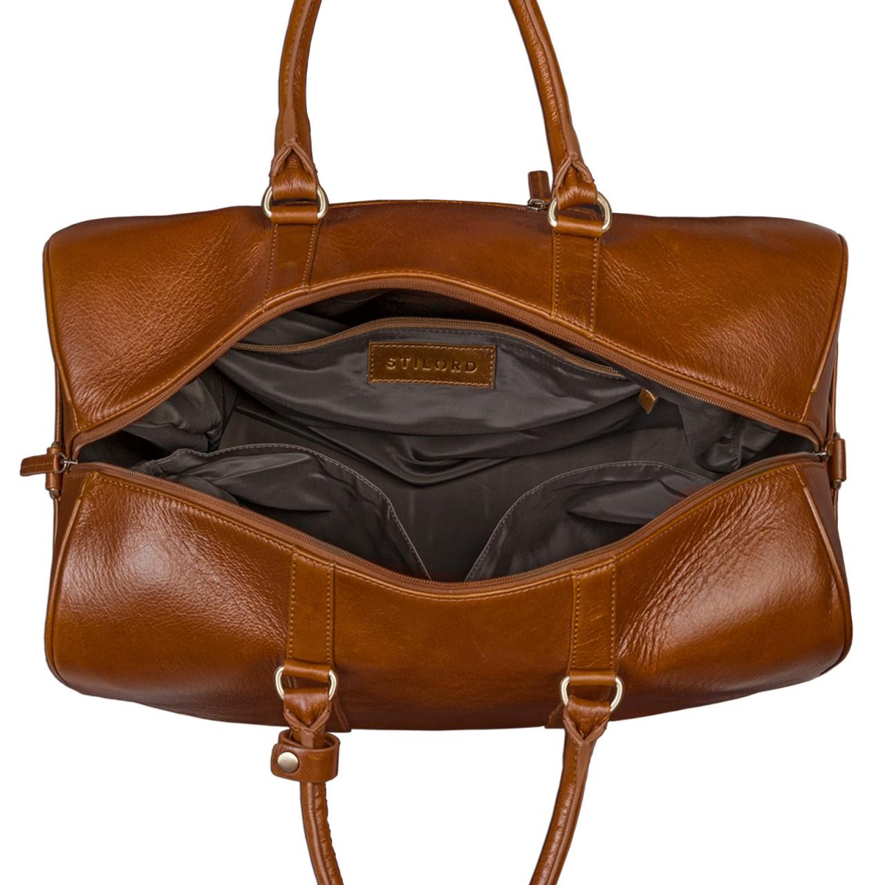STILORD Große Vintage Reisetasche Business Urlaub Handgepäck für Herren und Damen, Weekender aus Leder cognac braun - Bild 7