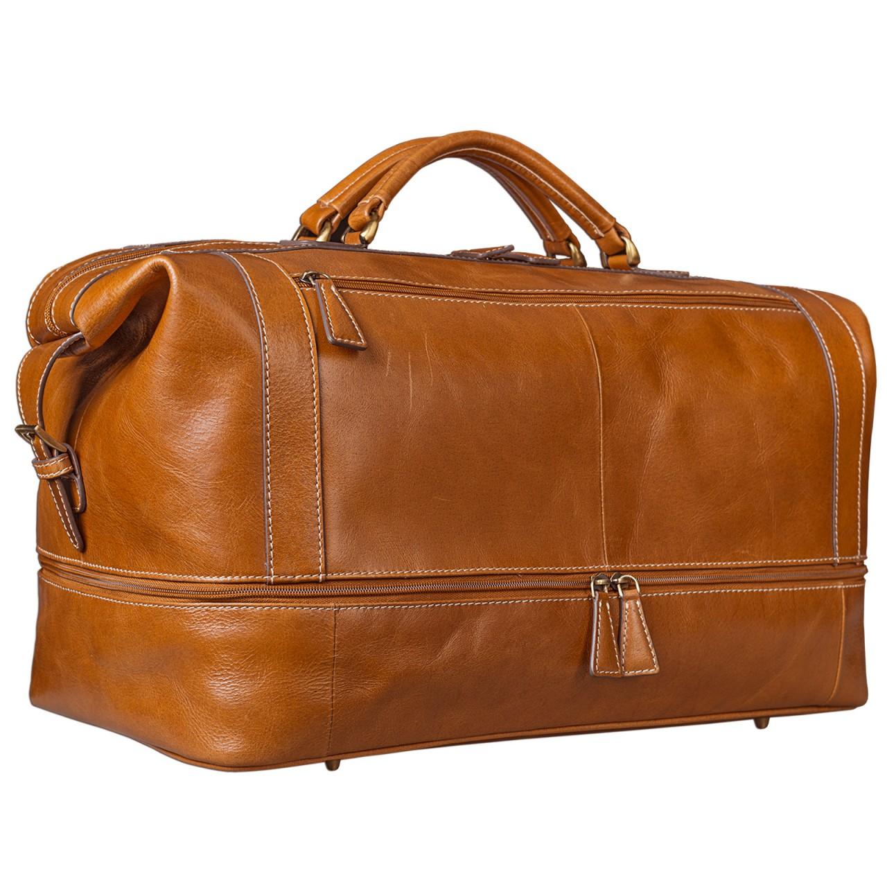STILORD Vintage Reisetasche aus edlem Rindsleder Urlaub Handgepäck Weekend Bag Sporttasche, echtes Leder, cognac braun - Bild 1