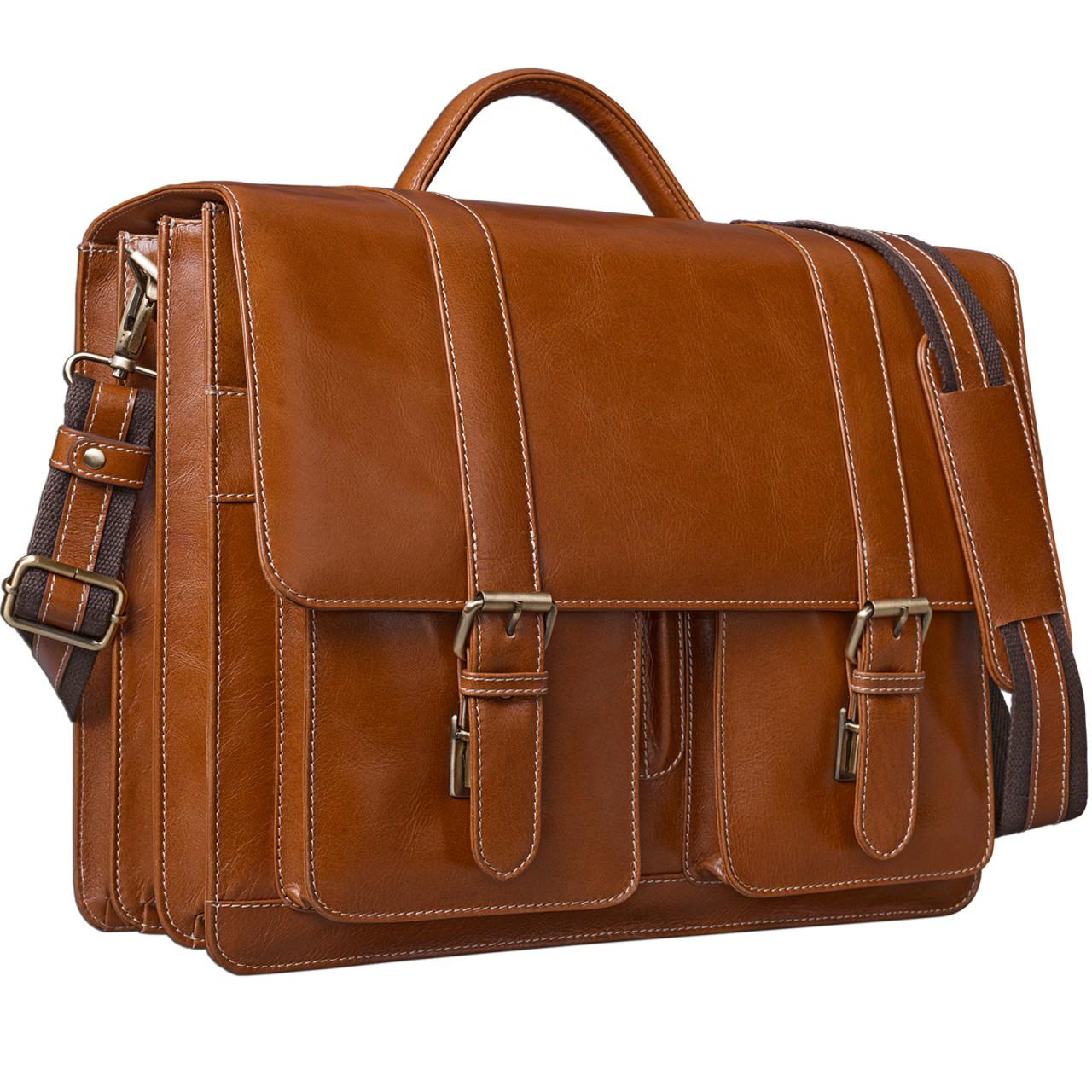 STILORD Vintage Aktentasche zum Umhängen 15.6 Zoll - Business Umhängetasche ideal für Lehrer und Büro, Rinds Leder braun - Bild 1