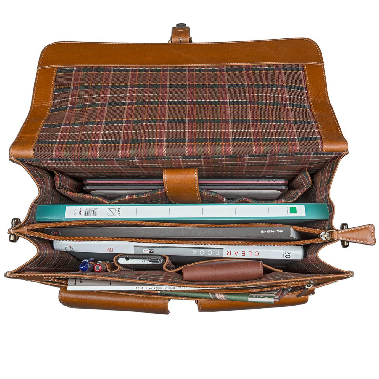 STILORD Businesstasche / Lehrertasche abnehmbarer Schultergurt Umhängetasche Aktentasche 15.6 Zoll Laptop Rinds Leder, cognac braun - Bild 6