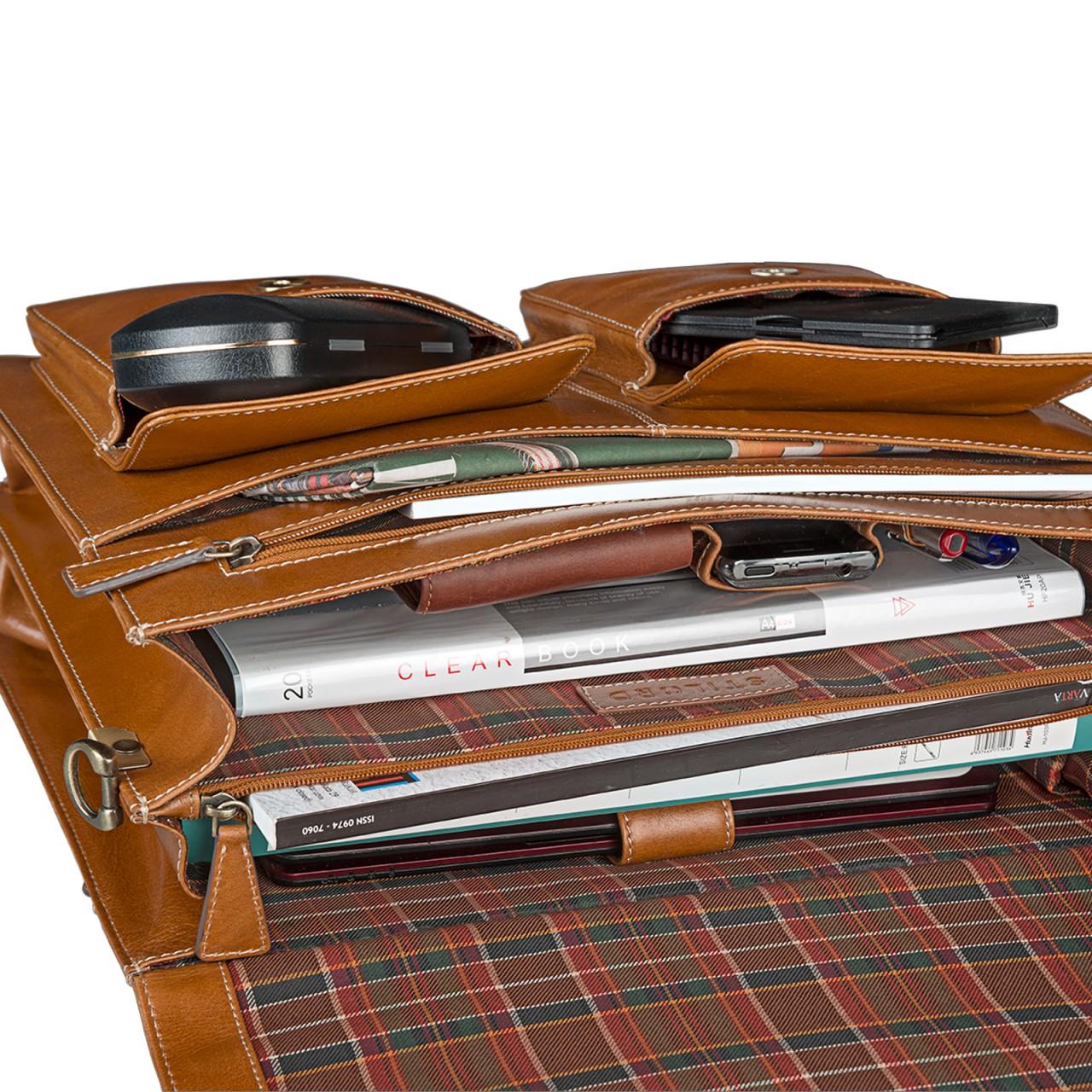 STILORD Businesstasche / Lehrertasche abnehmbarer Schultergurt Umhängetasche Aktentasche 15.6 Zoll Laptop Rinds Leder, cognac braun - Bild 8