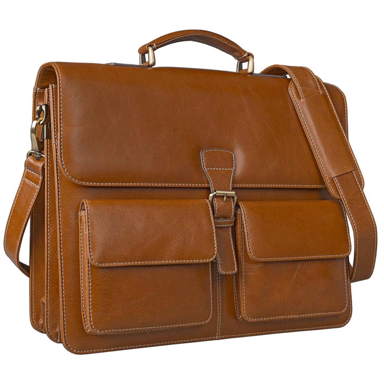 STILORD Businesstasche / Lehrertasche abnehmbarer Schultergurt Umhängetasche Aktentasche 15.6 Zoll Laptop Rinds Leder, cognac braun - Bild 1