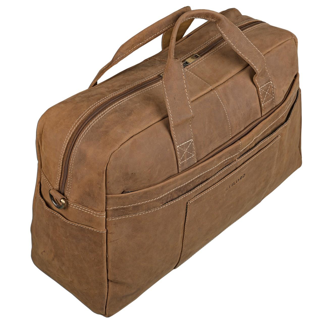 STILORD Vintage Reise Umhängetasche Herren Ledertasche Weekender für Flugzeug, Handgepäck in Kabinengröße, aus echtem Rinds Leder braun - Bild 3