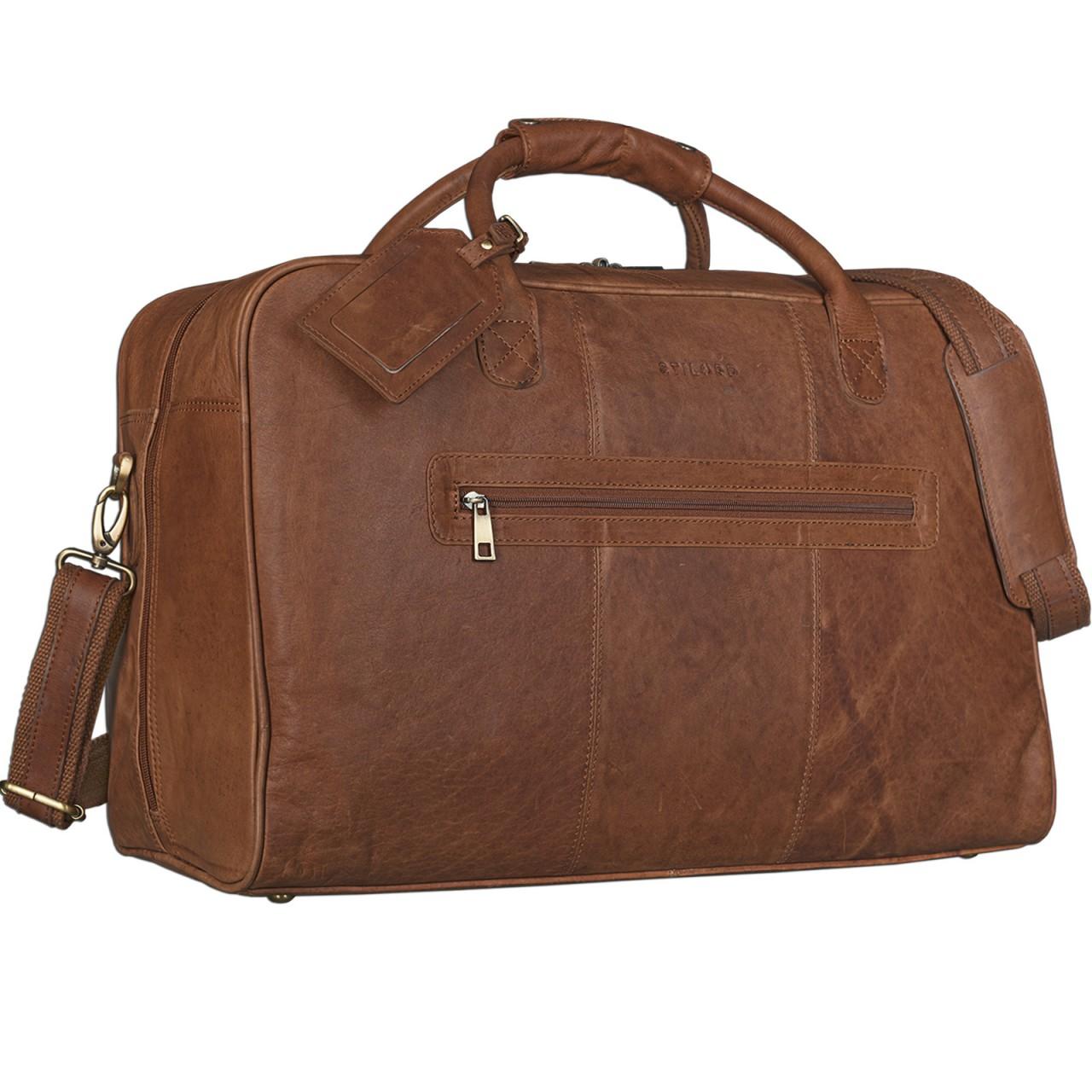 STILORD Reisetasche elegant und groß XXL Weekender Bag Sporttasche Freizeittasche Ledertasche echtes Büffel-Leder cognac braun - Bild 1