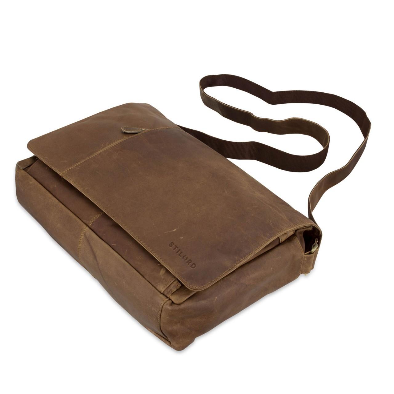 B-WARE STILORD Ledertasche Herren Umhängetasche Unitasche Laptoptasche 15.6 Zoll Aktentasche Bürotasche Büffel Leder braun - Bild 3