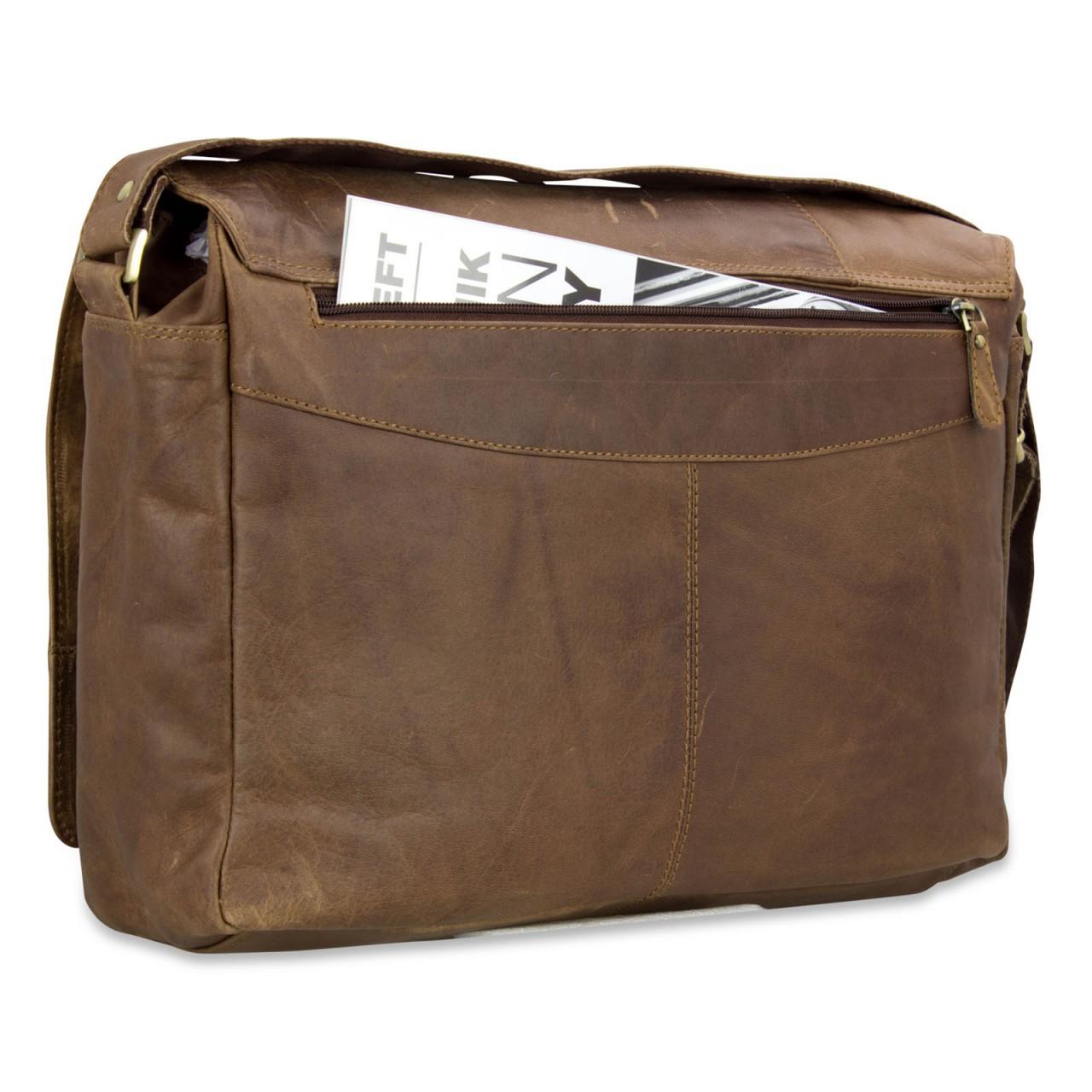 B-WARE STILORD Ledertasche Herren Umhängetasche Unitasche Laptoptasche 15.6 Zoll Aktentasche Bürotasche Büffel Leder braun - Bild 4