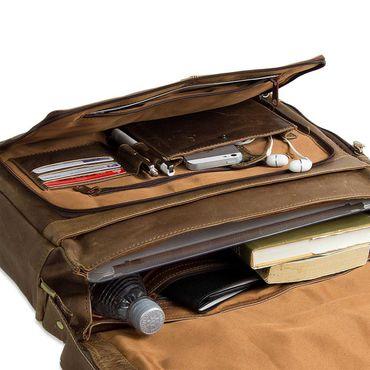 B-WARE STILORD Ledertasche Herren Umhängetasche Unitasche Laptoptasche 15.6 Zoll Aktentasche Bürotasche Büffel Leder braun – Bild 7