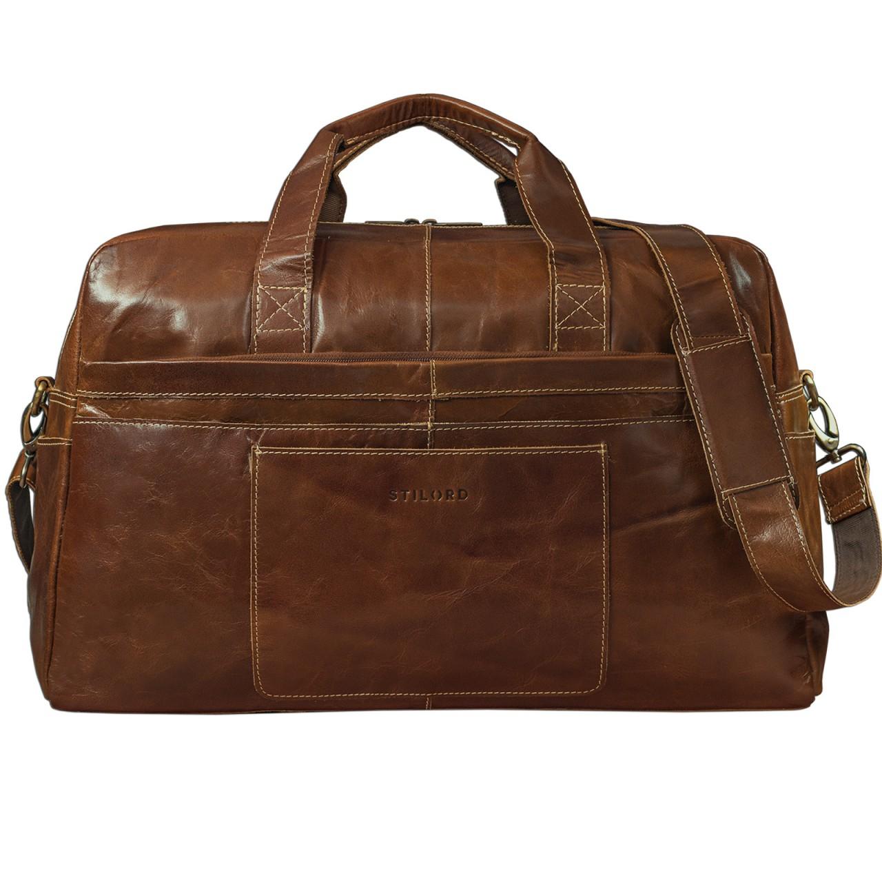 STILORD Vintage Reisetasche Umhängetasche Unisex Weekender für Flugzeug, Handgepäck in Kabinengröße, aus echtem Rinds Leder dunkelbraun - Bild 1