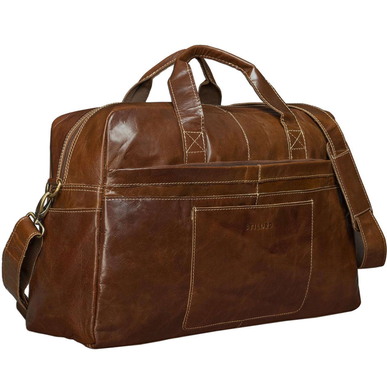 STILORD Vintage Reisetasche Umhängetasche Unisex Weekender für Flugzeug, Handgepäck in Kabinengröße, aus echtem Rinds Leder dunkelbraun - Bild 5