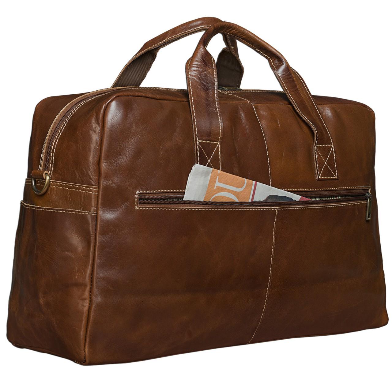 STILORD Vintage Reisetasche Umhängetasche Unisex Weekender für Flugzeug, Handgepäck in Kabinengröße, aus echtem Rinds Leder dunkelbraun - Bild 3