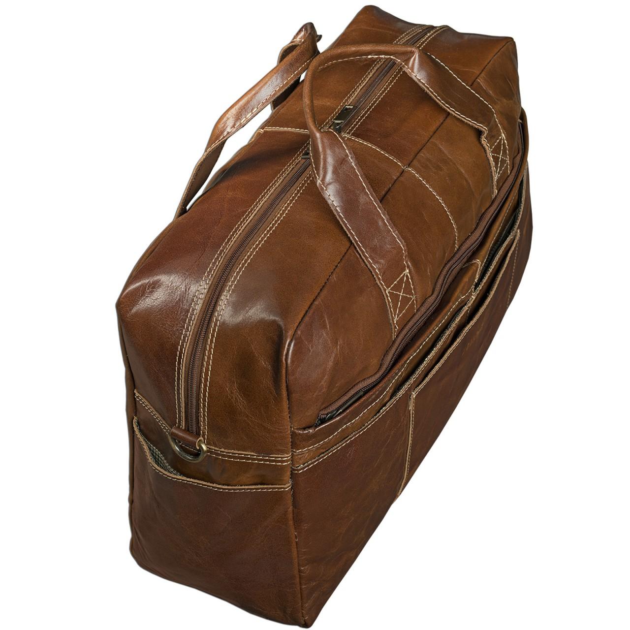 STILORD Vintage Reisetasche Umhängetasche Unisex Weekender für Flugzeug, Handgepäck in Kabinengröße, aus echtem Rinds Leder dunkelbraun - Bild 4
