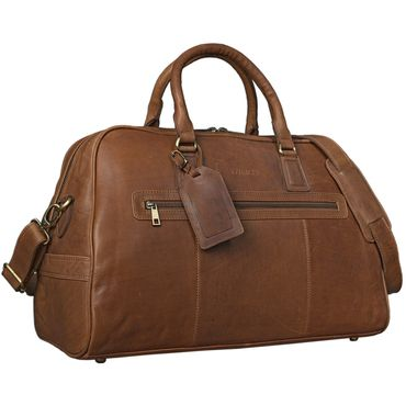 """STILORD Reisetasche """"Montana"""" aus echtem Leder / Umhängetasche mit Griff / Weekender Bag / Design: Vintage Retro / Farbe: cognac braun"""