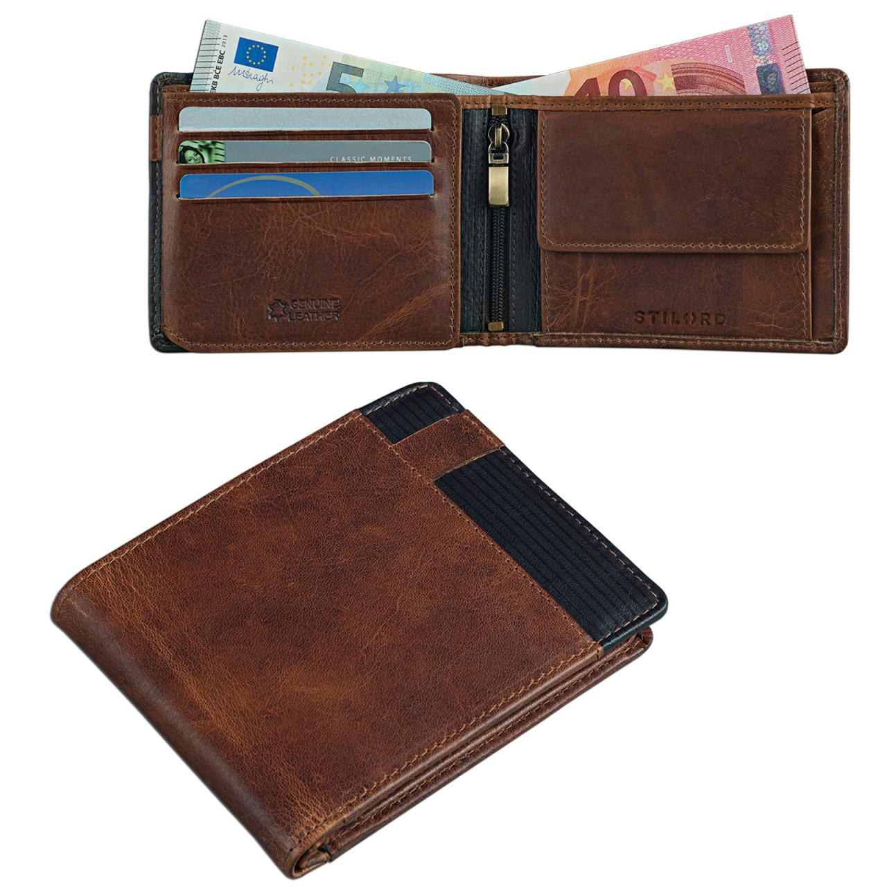 2637699c30bf1 Herren Portemonnaie aus Leder Geldbörse Vintage Leder Braun-Schwarz