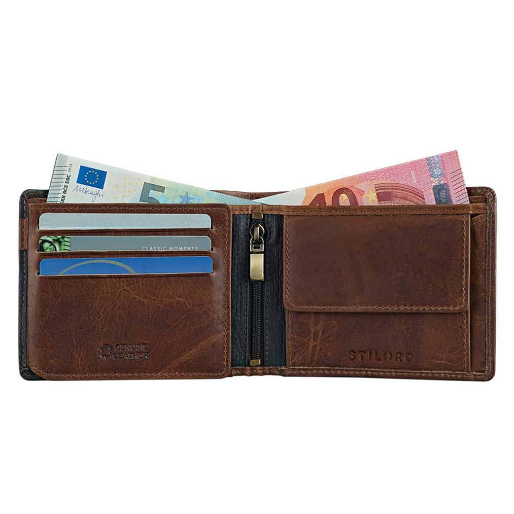 Schwarz braunes Portemonnaie Vintage Leder Herren