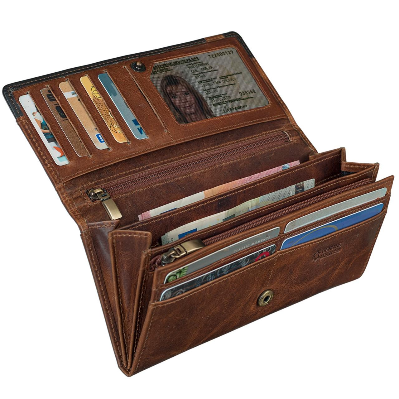 6686537d5a45b Vintage Damen Portemonnaie zeitlos und klassisch Leder Braun