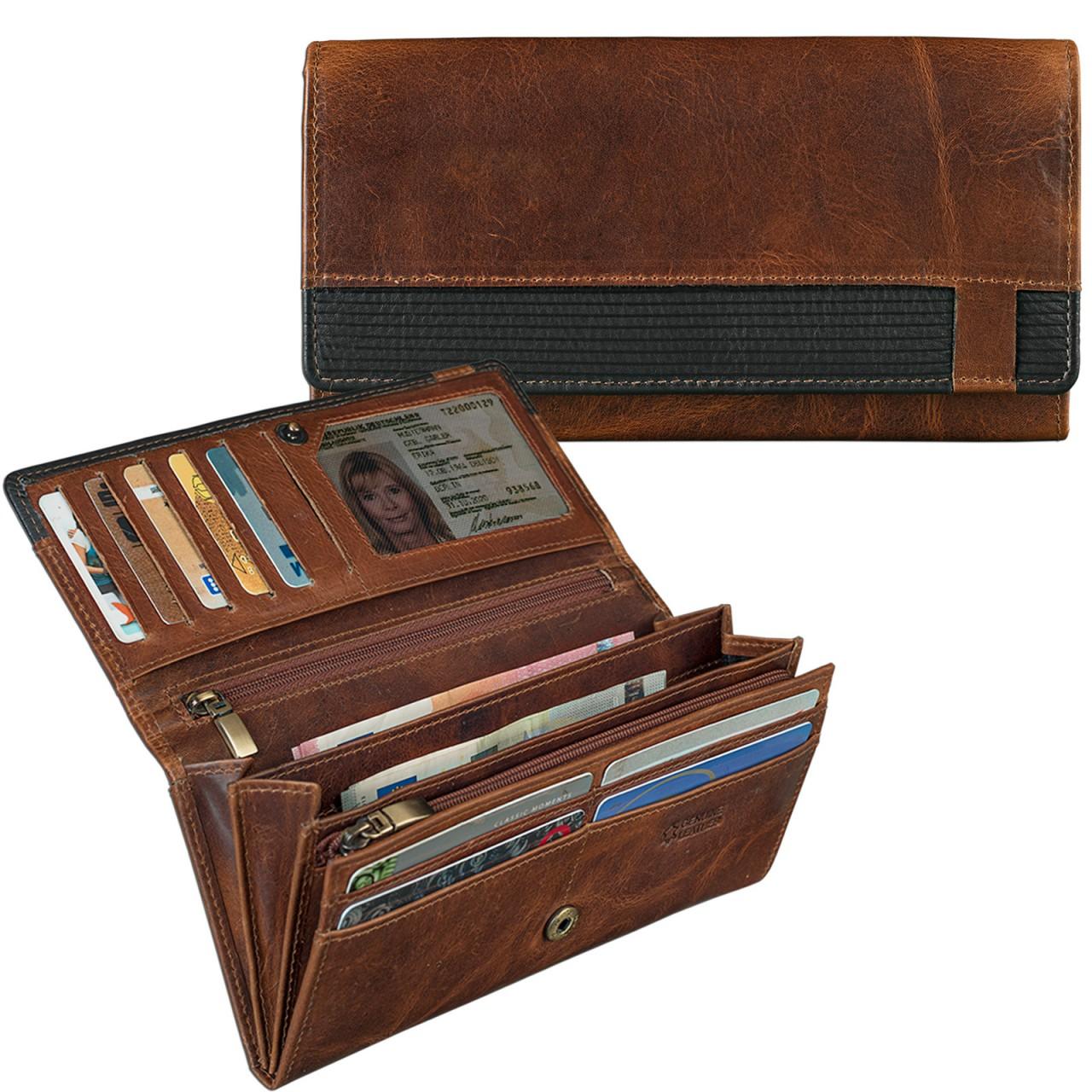 STILORD Vintage Damen Portemonnaie zeitlos und klassisch Geldbörse Quer EC-Karten 2 Kleingeldfächer Leder Braun - Bild 3