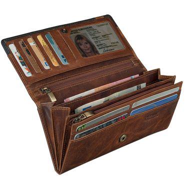 STILORD Vintage Damen Portemonnaie zeitlos und klassisch Geldbörse Quer EC-Karten 2 Kleingeldfächer Leder Braun – Bild 4