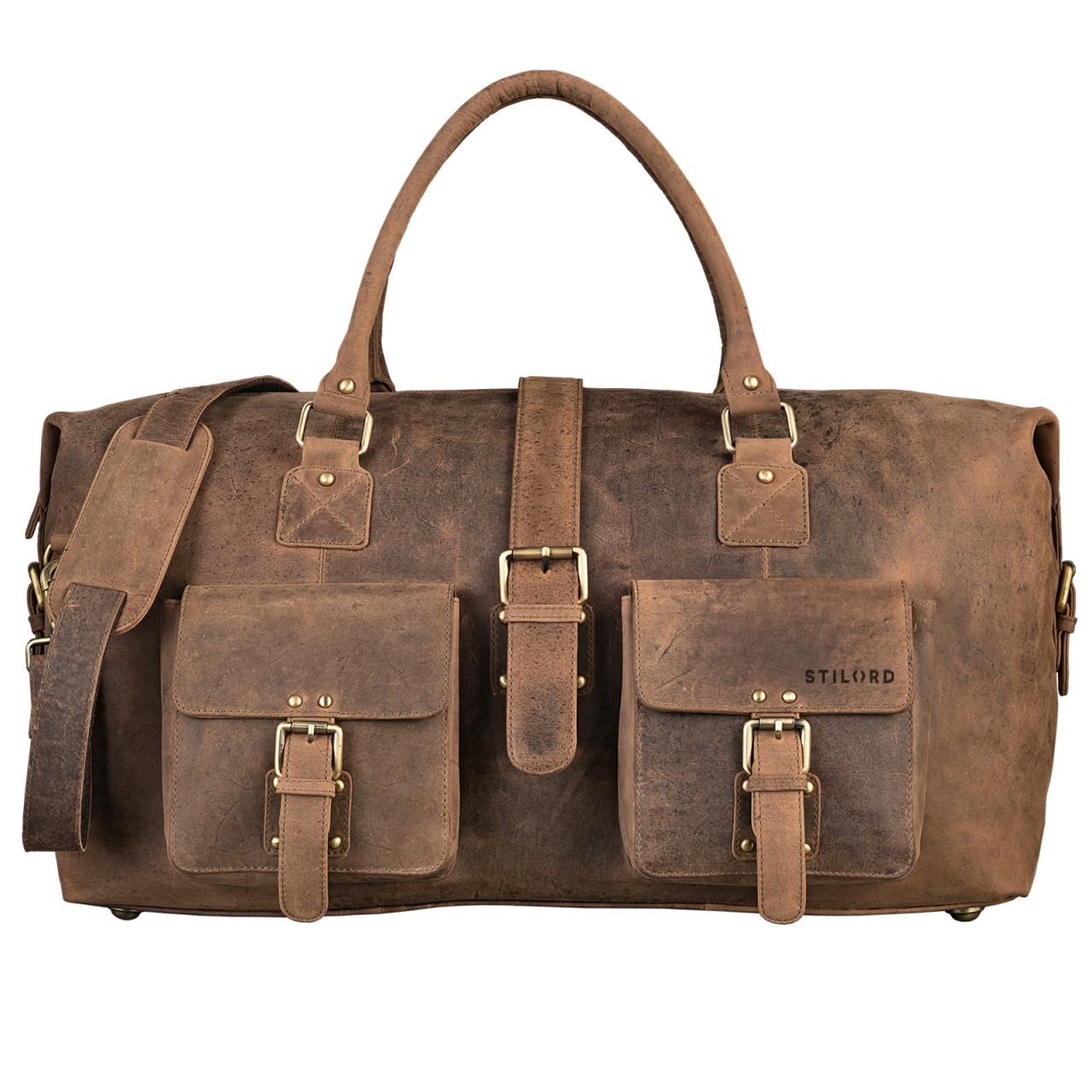 STILORD Vintage Reisetasche groß für Herren Ledertasche Urlaub Retro Sporttasche Weekender Bag aus echtem Leder braun - Bild 1