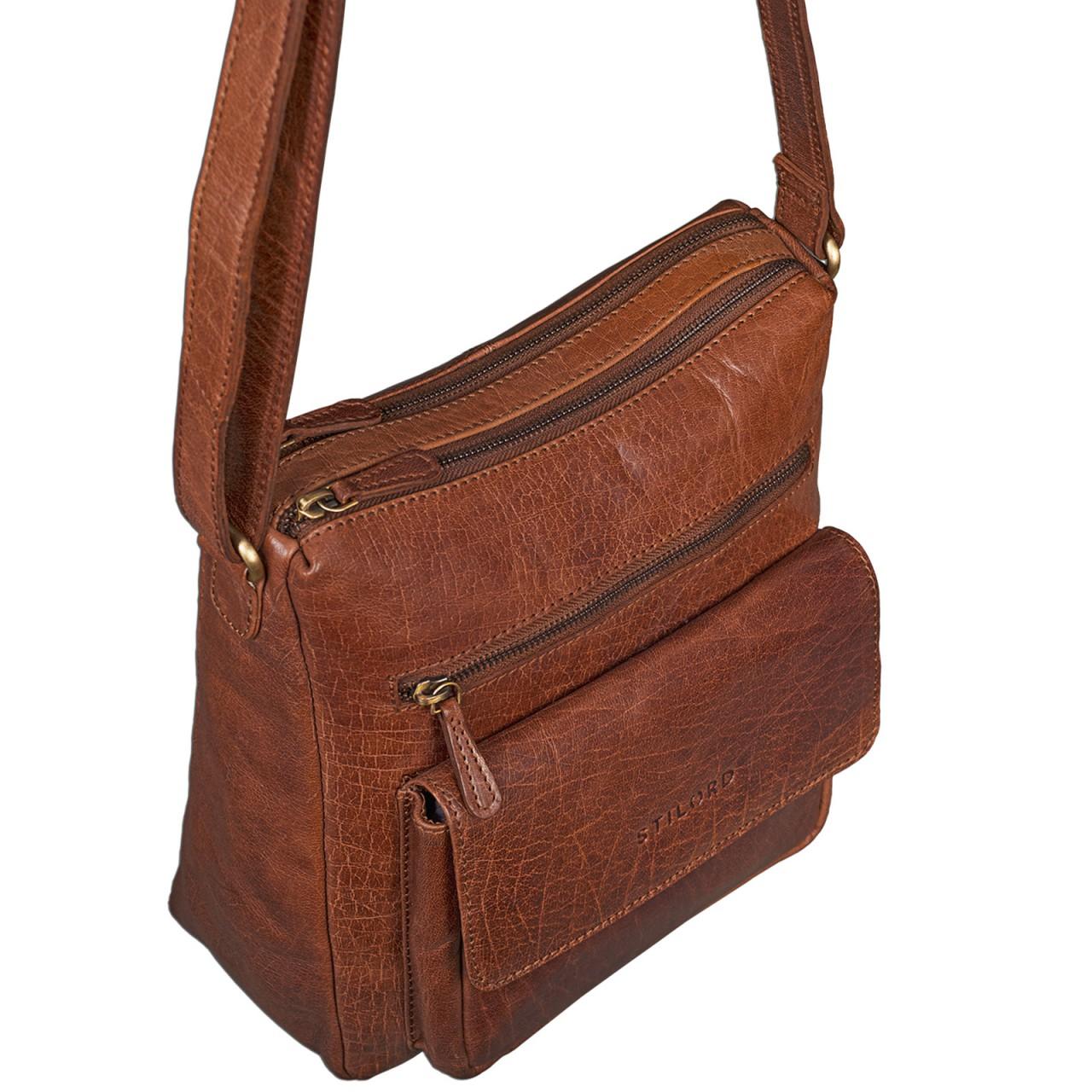 STILORD Vintage Umhängetasche für Damen Schultertasche Handtasche Ausgehen Freizeit Abendtasche Büffel Leder glänzend braun - Bild 3