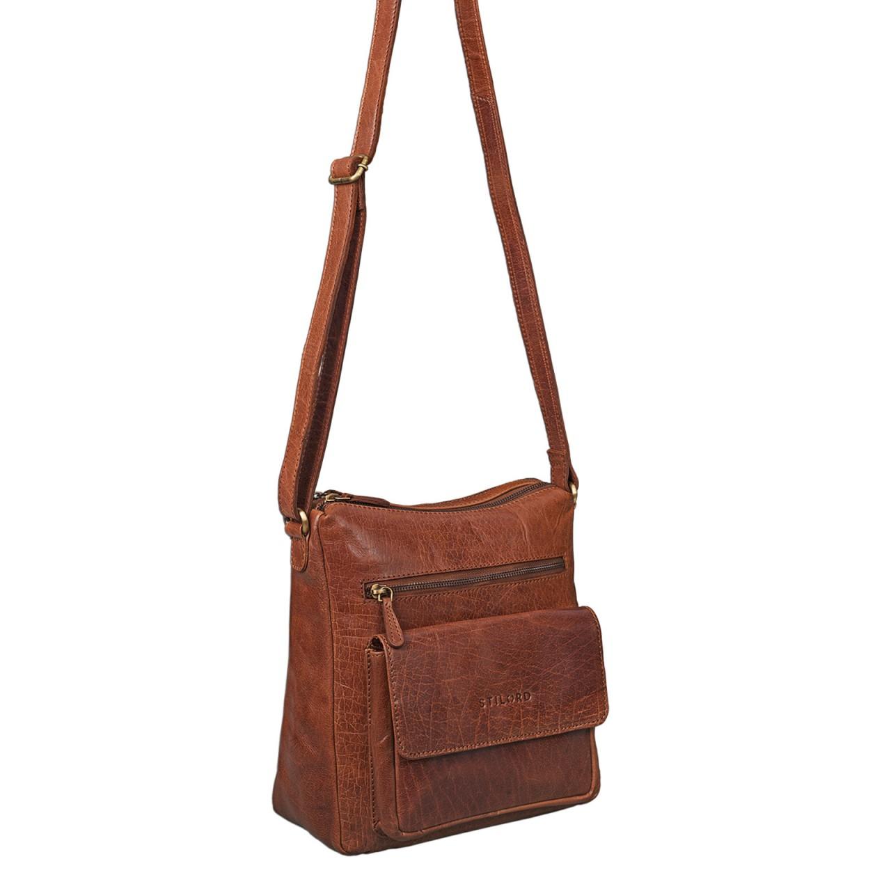 STILORD Vintage Umhängetasche für Damen Schultertasche Handtasche Ausgehen Freizeit Abendtasche Büffel Leder glänzend braun - Bild 7