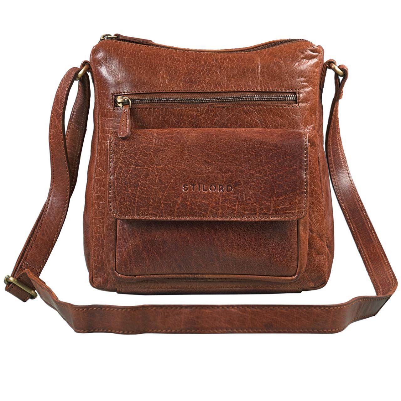 STILORD Vintage Umhängetasche für Damen Schultertasche Handtasche Ausgehen Freizeit Abendtasche Büffel Leder glänzend braun - Bild 2