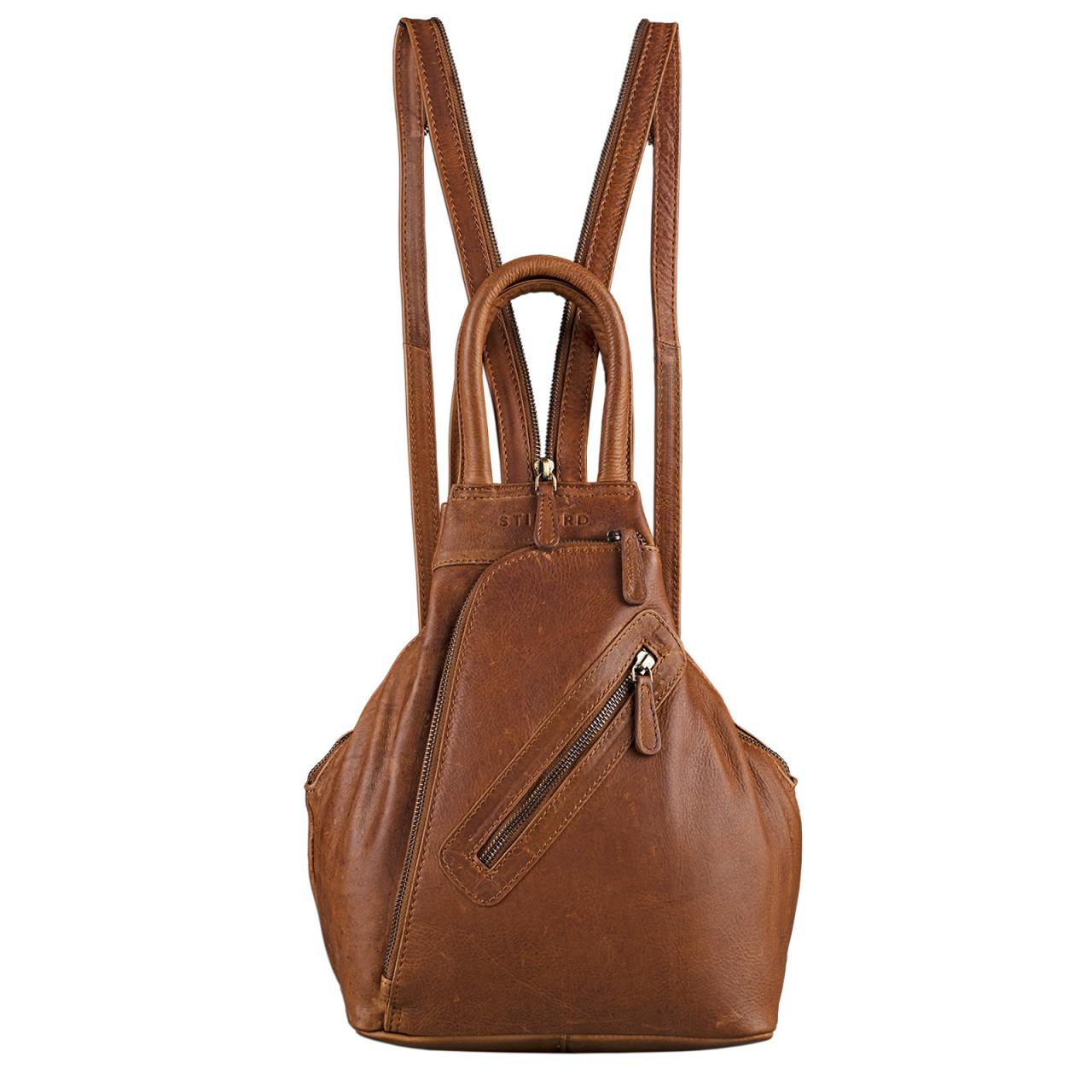STILORD Damen Rucksack Vintage mit Henkel und Reißverschluss Handtasche elegantes und robustes Büffel Leder Cognac Braun - Bild 2