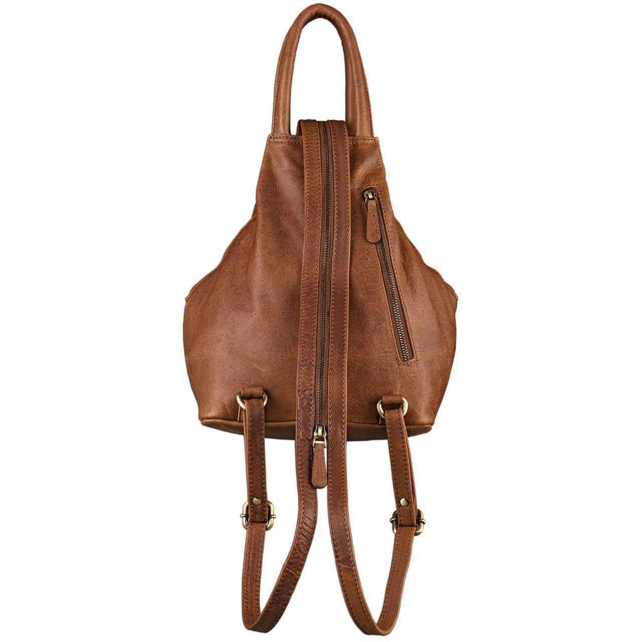 STILORD Damen Rucksack Vintage mit Henkel und Reißverschluss Handtasche elegantes und robustes Büffel Leder Cognac Braun - Bild 3