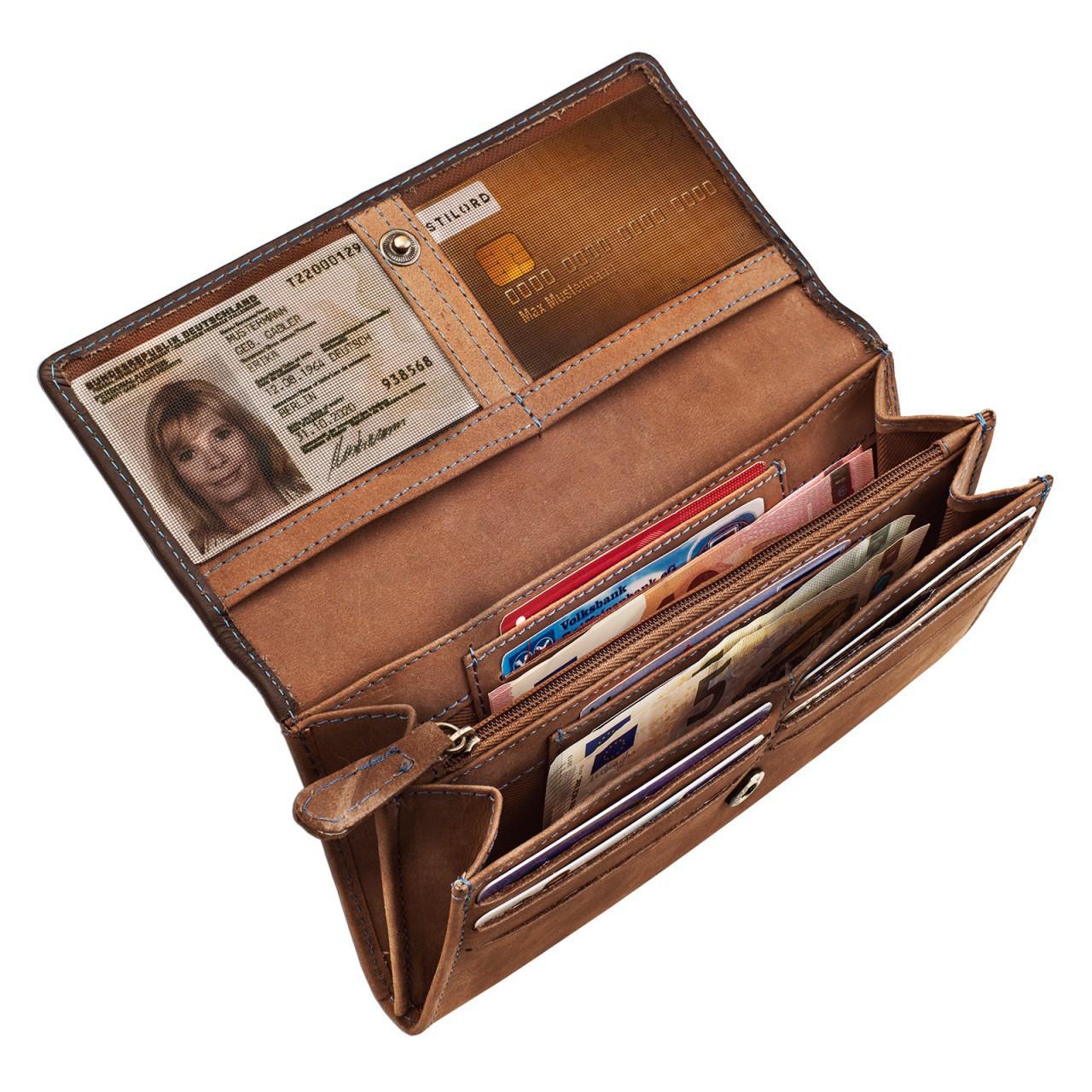 STILORD Leder Portemonnaie Quer mit Reißverschluss Leder Geldbeutel Etui Kellnerbörse Wallet 12 Kartenfächer Büffel-Leder braun - Bild 5