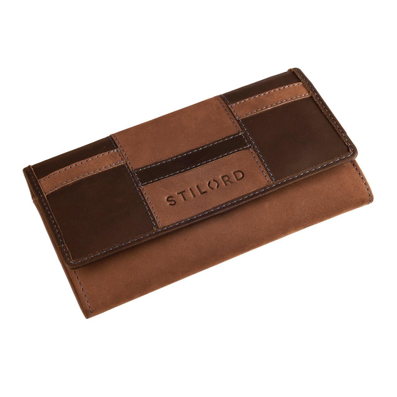 STILORD Leder Portemonnaie Quer mit Reißverschluss Leder Geldbeutel Etui Kellnerbörse Wallet 12 Kartenfächer Büffel-Leder braun - Bild 2