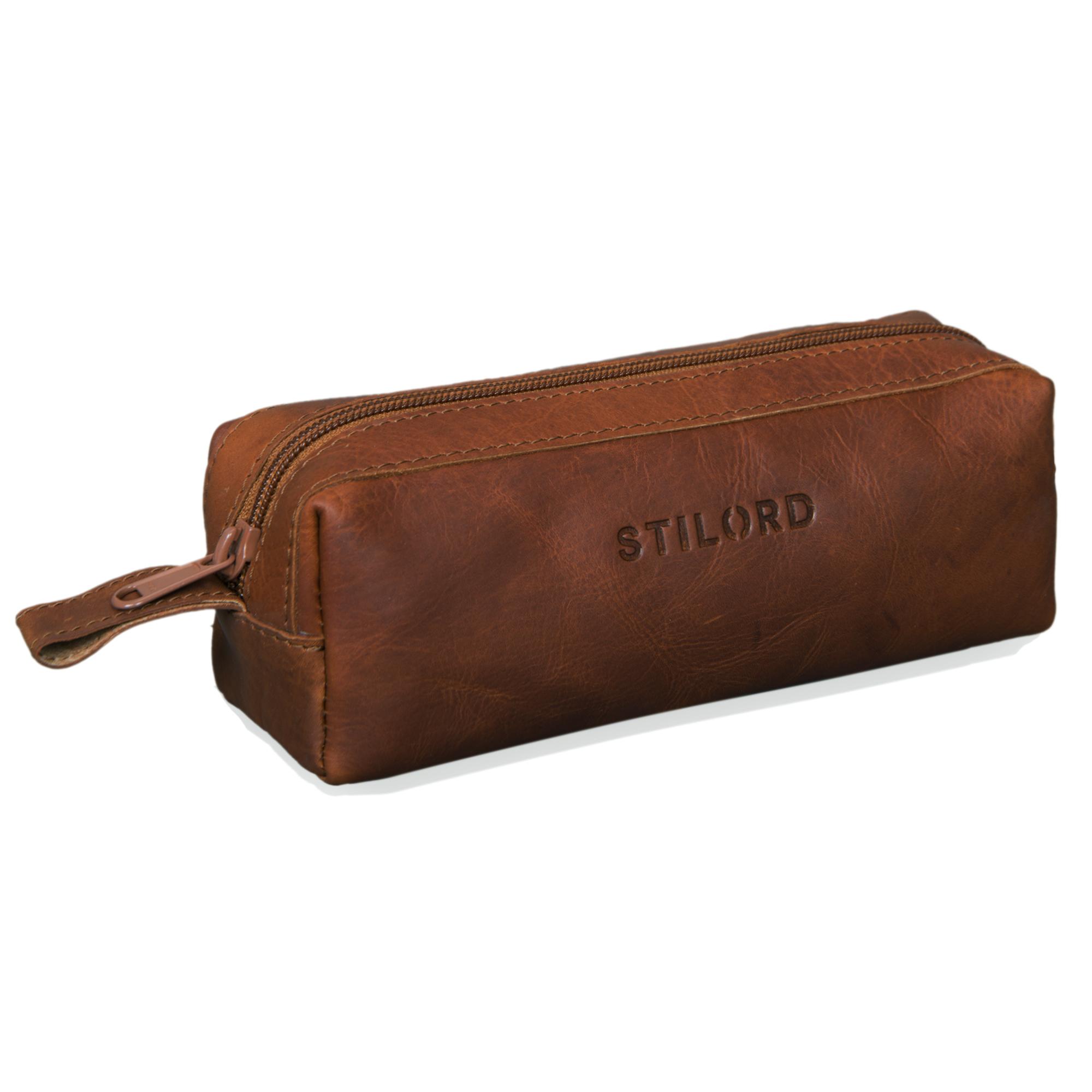 "STILORD ""Linus"" Etui Leder Vintage Herren Damen Stifteetui Lederetui Federmappe quadratisch Stiftetasche - Bild 5"