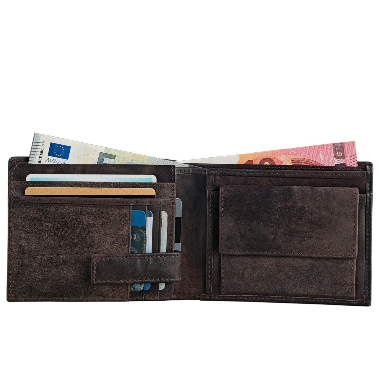 STILORD Vintage Leder Geldbörse mit EC-Karten Schutz Herren Portemonnaie Brieftasche elegant  Retro Rindsleder dunkelbraun - Bild 6