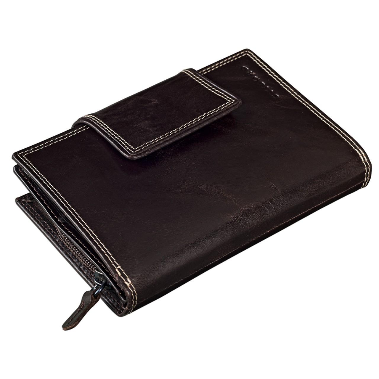 STILORD Leder Portemonnaie groß Geldbörse 8 x EC viele Fächer 2 x Kleingeldfach Reißverschluss Damen Kellnerbörse braun - Bild 1