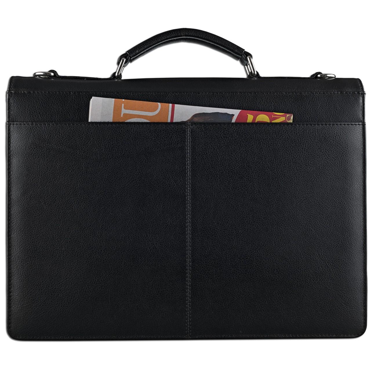 """STILORD """"Jonathan"""" Elegante Aktentasche klassische Büro Business Schultertasche groß 15,6 Zoll mit Schloss Rinds Leder schwarz - Bild 6"""