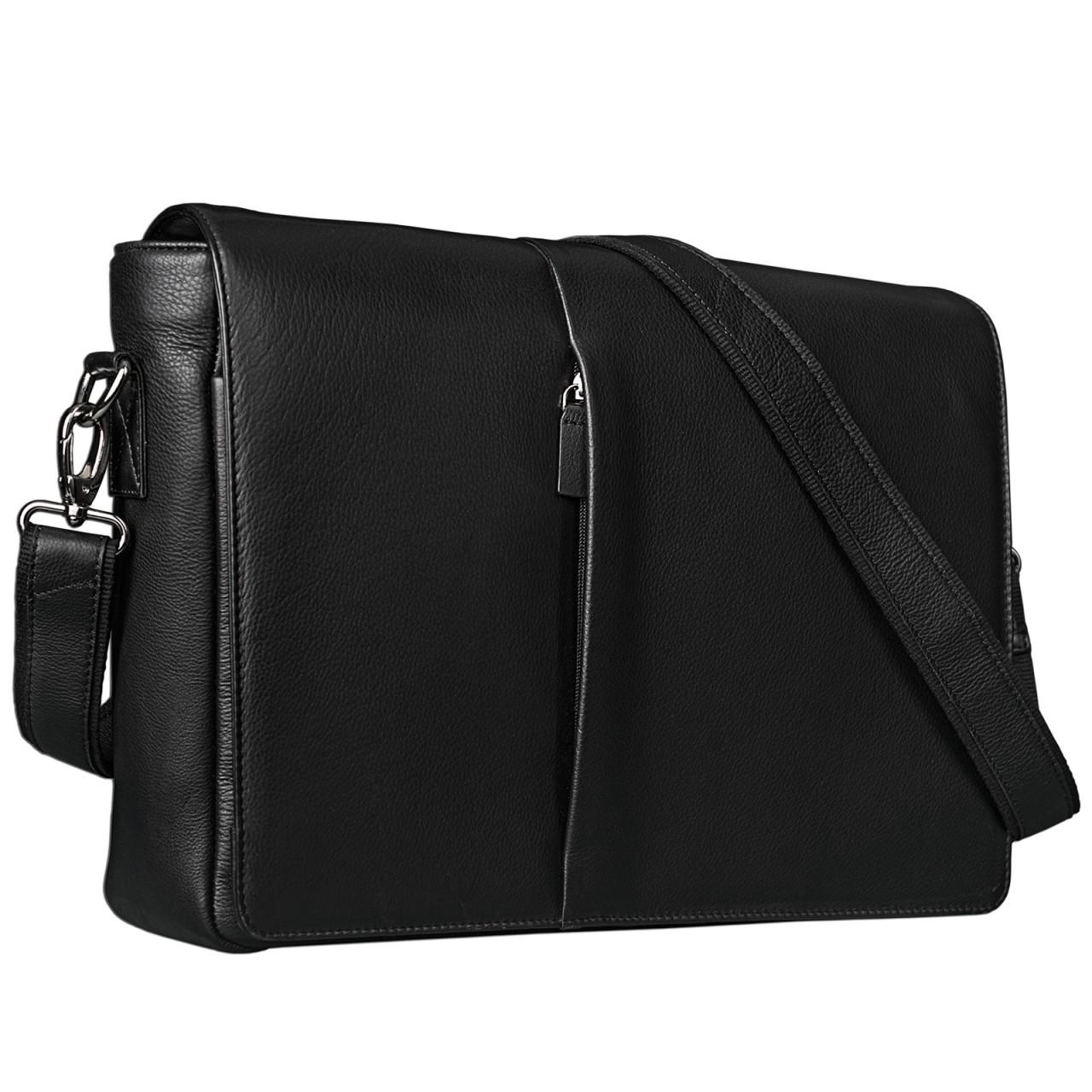 STILORD Ledertasche Umhängetasche Herren Damen Aktentasche Uni Messenger Bag Büro Office 15,6 Zoll Rinds Leder schwarz - Bild 1
